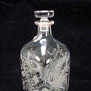 Vintage Engraved Cut Glass Bottle Decanter Cornucopia Flower Basket Garlands