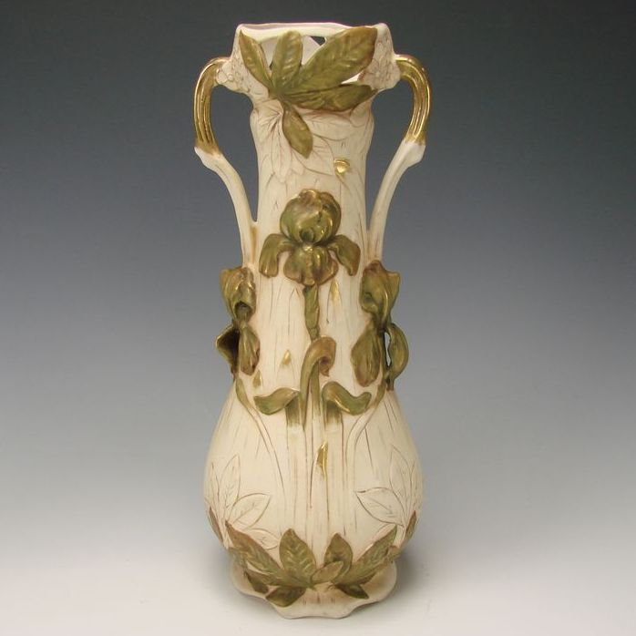 Art Nouveau Royal Dux Vase Porcelain China Figural Pottery Iris Relief Antique