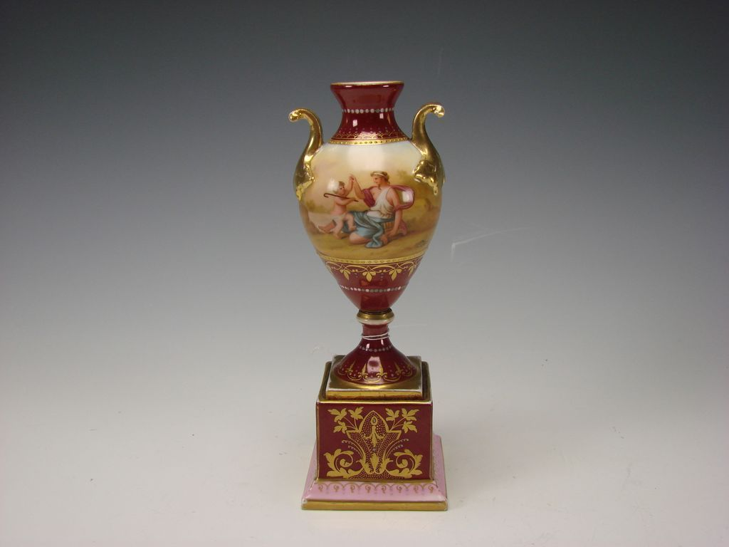 Antique Royal Vienna Dresden Austrian Hand Painted Porcelain Vase