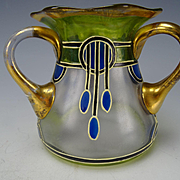 Antique Haida Secessionist Enamel Glass Vase Loving Cup c1910