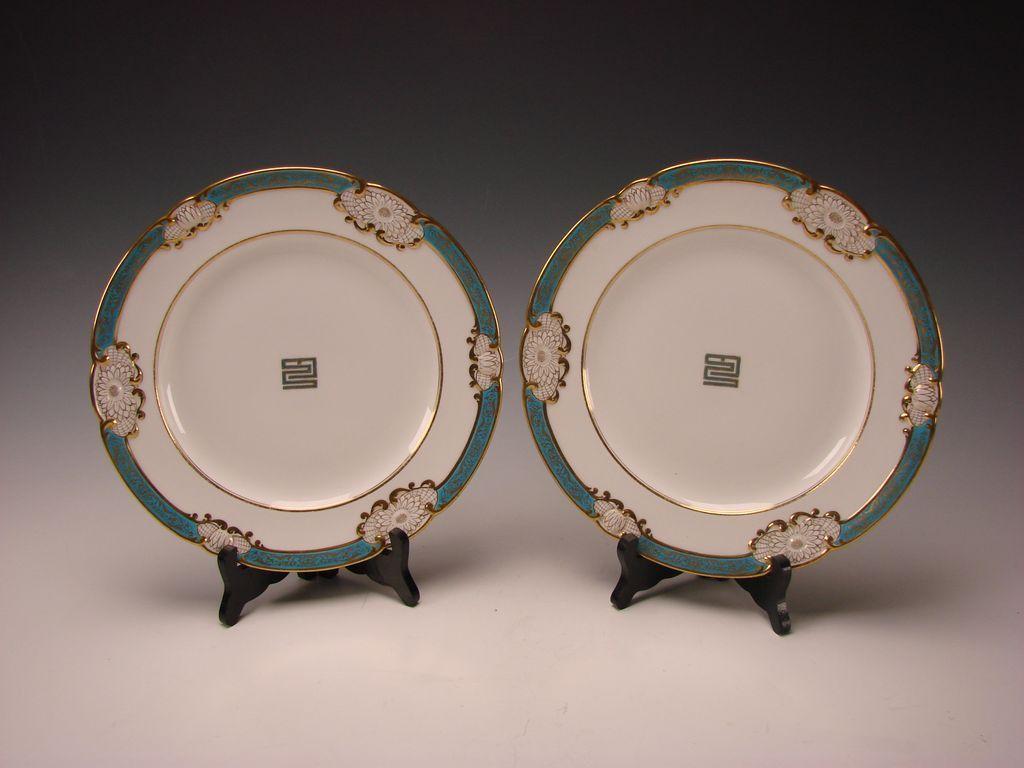 Antique Royal Worcester English China Porcelain Lotus Aesthetic Gilt Cabinet Plates
