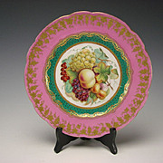 Victorian English Minton Hand Painted Elegant Gilt Pink Border Plate