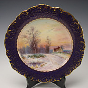 Antique Minton China Signed J Dean Scenic Landscape Portrait Plate