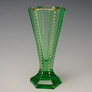 Antique Moser Bohemian Vaseline Glass Cut Gilt Vase Art Deco