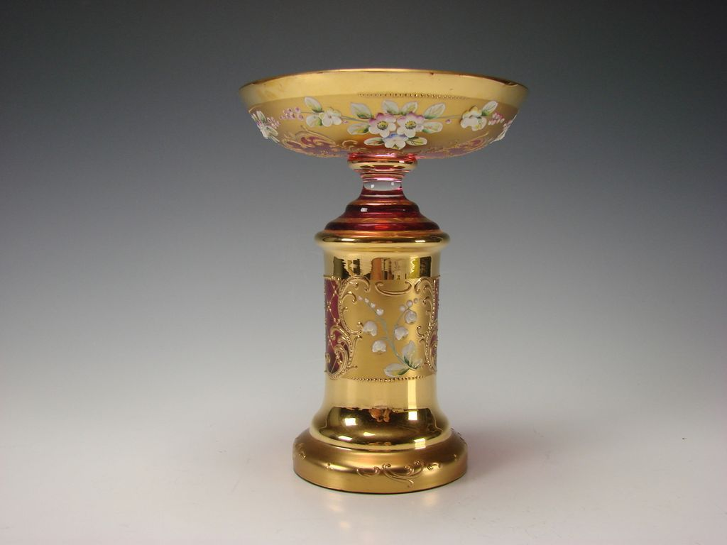 Antique Venetian Murano Cranberry Ornate Enamel Gilt Glass Compote/Stand Vase
