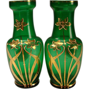 Antique Bohemian Harrach Art Nouveau Gilt Emerald Green Glass Vase Pair