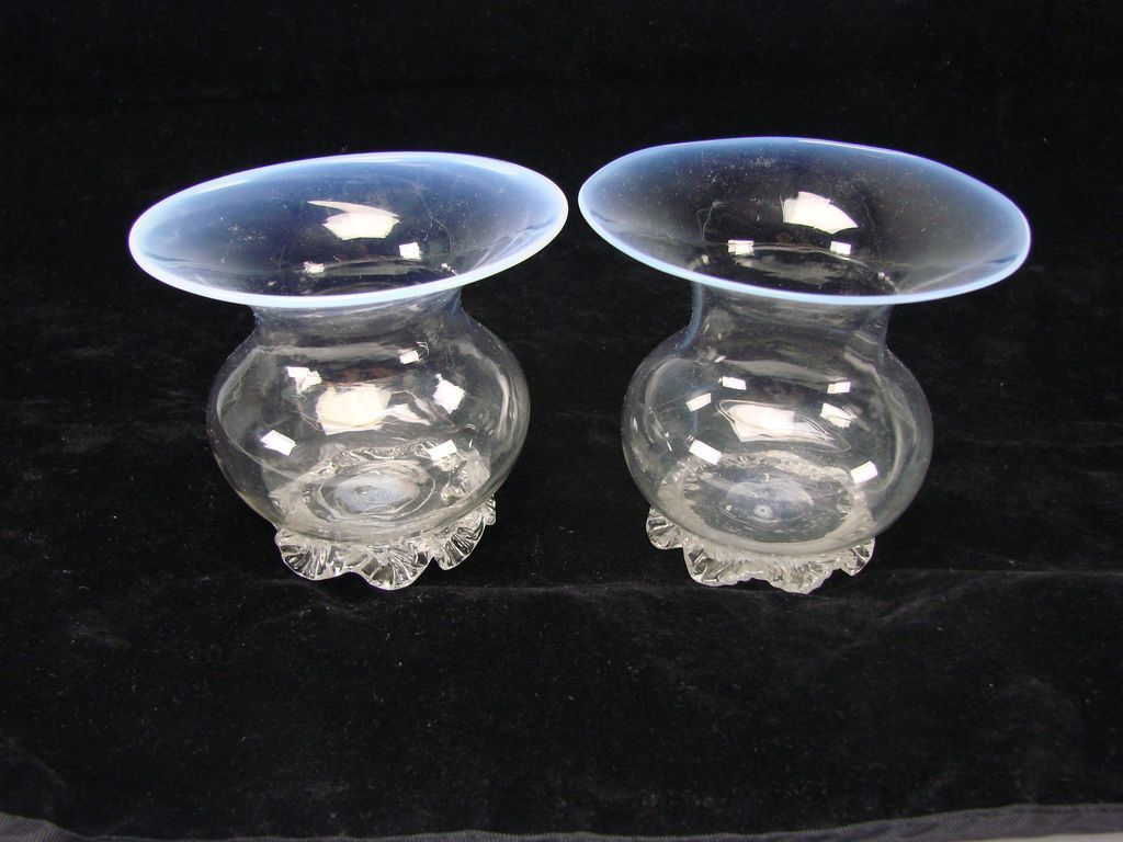 Antique English Webb Iridescent Opaline Rim Glass Vases Votive Pair