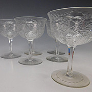 Set of 6 Signed Webb Engraved Cut Crystal Glass Wine Stems