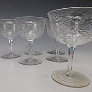 Set of 6 Signed Webb Engraved Cut Crystal Glass Wine Stems