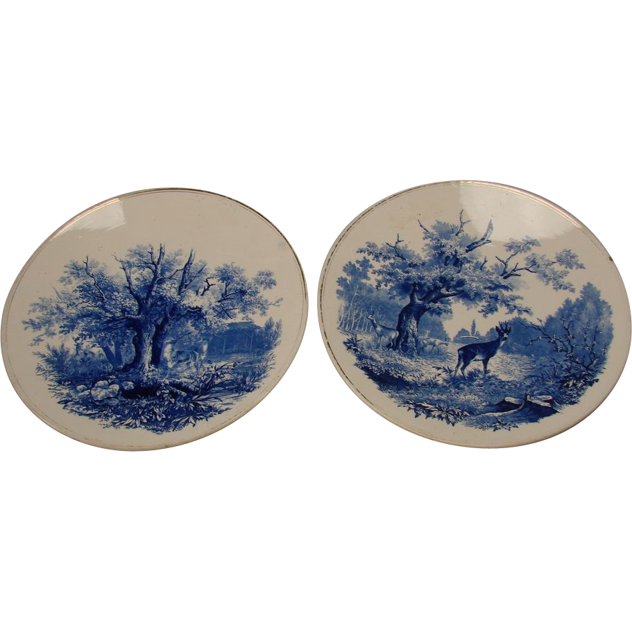 Antique Villeroy And Boch German Pottery Plates Chargers