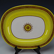Antique Minton English Porcelain Yellow Gold Gilt Platter Tray