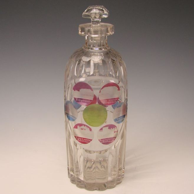 HUGE Antique Bohemian Egermann Glass SPA Etched Decanter c1860