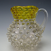 Antique Victorian Hobbs Brockunier Amber Frances Ware Hobnail Glass Pitcher