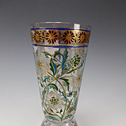 GREAT Fritz Heckert Bohemian Art Nouveau Stained Glass Tumbler