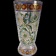 GREAT Fritz Heckert Bohemian Art Nouveau Stained Glass Tumbler
