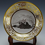 c1800 Antique Derby or Spode English Porcelain Gilt England Landmark Plate