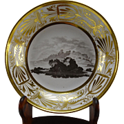 c1800 Antique Derby or Spode English Porcelain Gilt England Landmark Plate