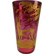 Antique Moser Parcel Gilt Engraved Stag Black Forest Cranberry Glass Tumbler as found