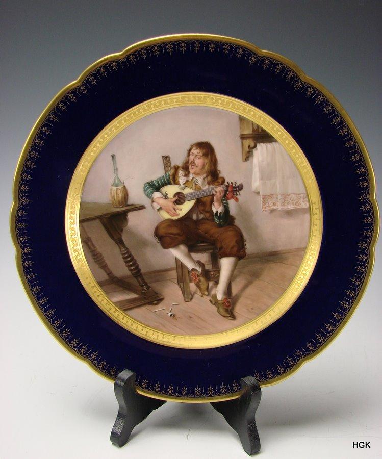 19c Franz Xavier Thallmaier German Hand Painted Porcelain Portrait Plate