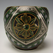Antique French Iridescent Pottery Victorian Miniature Cabinet Vase c1880