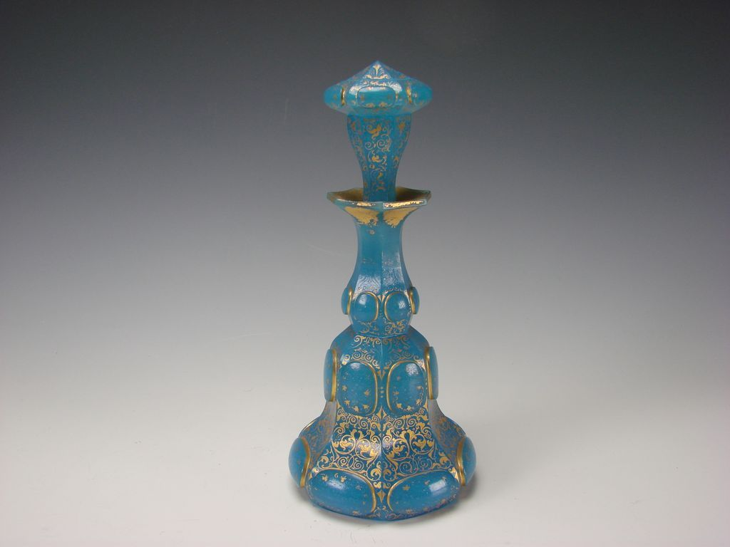 Antique French Baccarat Gilt Blue Opaline Perfume Scent Bottle