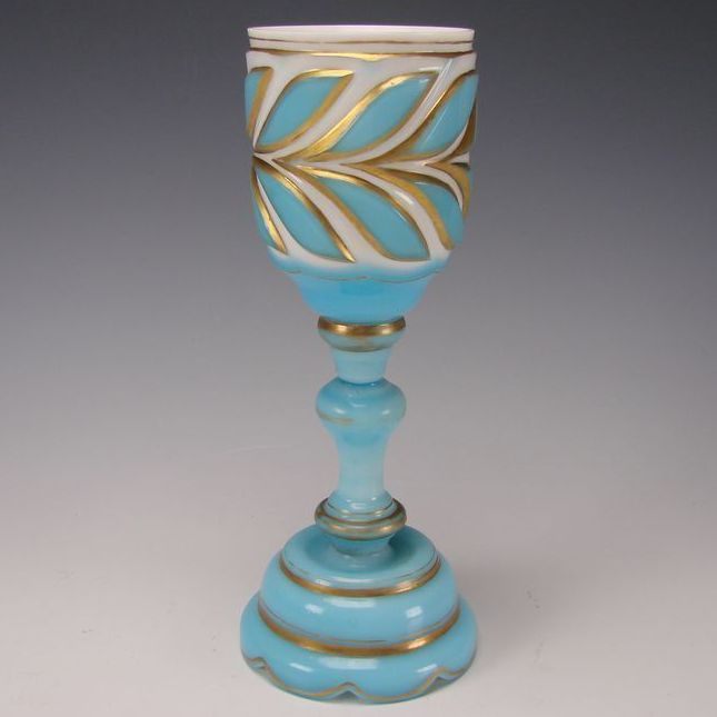 Antique Bohemian Cased/Cut Blue Overlay Glass Chalice Goblet Wine