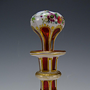 BEST Antique Josephinenhutte or Harrach Cased Enamel Cranberry Glass Perfume Bottle
