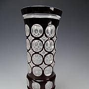 Large Bohemian Oertel Haida Amethyst Cased Cut Polished Art Glass Vase c1930