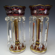 Antique Ruby Hand Painted Gilt Bohemian Glass Lusters Lustres