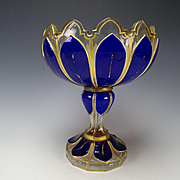 Antique Harrach or Josephinenhutte Cobalt Overlay Triple Cased BIG Glass Compote