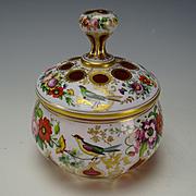 Antique Josephinenhutte or Harrach Hand Painted Enamel Glass Powder Jar Box
