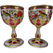 Antique Josephinenhutte Moser Hand Painted Enamel Cut to Cranberry Glass Wine Stem Pair