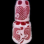 Antique Harrach Moser Enamel Cut to Cranberry Glass Tumble Up Decanter