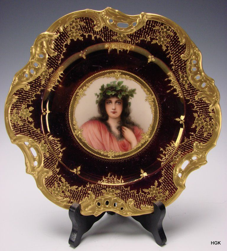 Antique Royal Vienna Iridescent Luster Hand Painted Portrait Plate