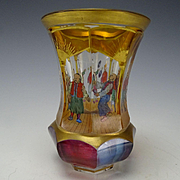CHINOISERIE Egermann Cut Hand Painted Enamel Chinese Acrobats Beaker Vase