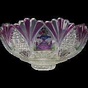Big Antique Egermann Hand Painted Enamel CHINOISERIE Cut Glass Bowl