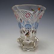 Fantastic Antique Egermann c1835 Hand Painted Bugs Enamel Cabochon Cut Glass Beaker Vase