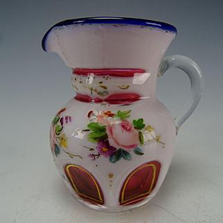 Antique Miniature Double Cased Enamel Cut to Cranberry Glass Pitcher Jug