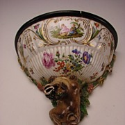 Antique German Porcelain Foo Dog Bracket Wall Shelf BIG c1810