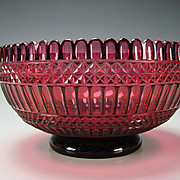 Antique Russian Imperial Deep Amethyst Cut to Cranberry Glass Bowl c1830