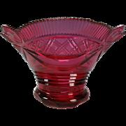 Antique Bohemian Cranberry Cut Glass Bowl c1820s