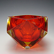 Vintage 60s Space Age Murano Sommerso Cased Cut Geode Glass Vase Bowl Orange/Amber/Clear
