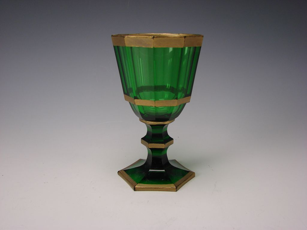 Green French or Bohemian Green Faceted Cut Wine Glass