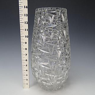 Fabulous Podebrady Bohemian Czech Engraved Cut Glass Vase HUGE