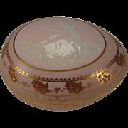 Antique Large Barbotine Limoges French Porcelain Cherub Angel Pate Sur Pate Egg Shape Jewelry Box