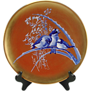 Antique French Limoges Cobalt Blue Birds on Branch Super Gold Gilt Plate Charger c1880