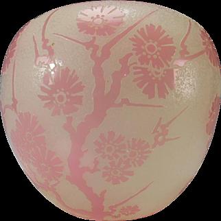 Antique Steuben Carder Rosaline Cameo Acid Cut Ming Tree Glass Vase