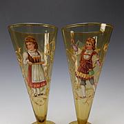 Antique Bohemian Fritz Heckert Hand Painted Enamel Pilsner Beer Conical Tumbler Pair