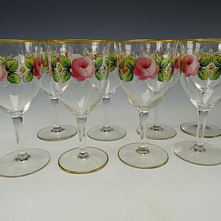 Vintage Franciscan Desert Rose Wine Glass Stem Set of 8 c1950