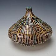 Fine Mid Century Modern Italian Zannoni Hand Painted Pottery Vase